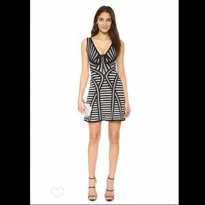NWT Herve Leger Striped Milana Dress Black White